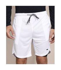 bermuda esportiva ace com short compressor e bolsos branco