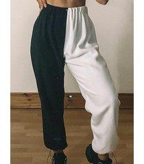 bolsillos laterales patchwork cintura elástica pantalones