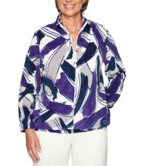 alfred dunner classics petite printed zippered jacket