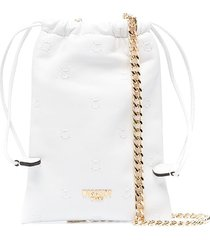 moschino sheepskin drawstring pouch bag - white