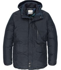 cast iron semi long jacket shiftback parka dark sapphire winter jassen blauw