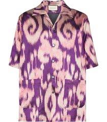 gucci swirl print bowling shirt - purple