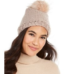 echo knit faux fur pom beanie