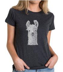 women's premium word art t-shirt - llama