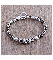 sterling silver pendant bracelet, 'borobudur sunrise' (indonesia)
