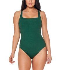women's bleu by rod beattie walk line square neck underwire one-piece swimsuit, size 10 - green