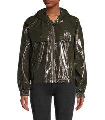 noize women's selena glossy vegan leather jacket - forest - size xl
