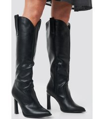 na-kd shoes calf high cowboy boots - black
