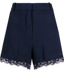 ermanno ermanno lace trim mini shorts - blue