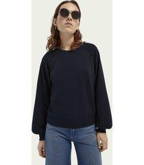 scotch & soda zachte sweater met ronde hals en tapedetail