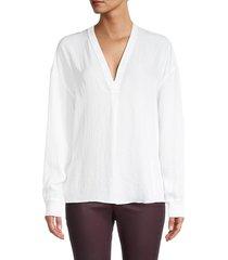 vince women's rib trim blouse - optic white - size m