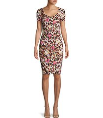 mixed animal-print sheath dress