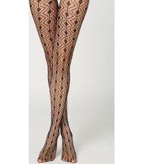 calzedonia eco q-nova diamond mesh tights woman black size 1/2
