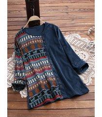 blusa taglia plus patchwork di velluto a coste stampa africana