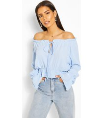 woven flare sleeve off the shoulder top, turquoise