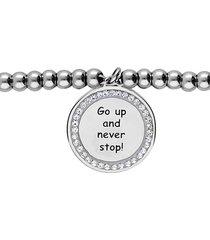 bracciale 'go up and never stop!' in acciaio e strass per donna