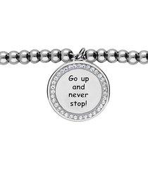 """bracciale """"go up and never stop!"""" in acciaio rodiato e strass per donna"""