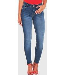 jeans wados pitillo tiro alto azul - calce ajustado