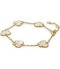 jan-kou women's butterfly collection 14k goldplated & mother of pearl bracelet