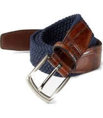 saks fifth avenue men's collection woven belt - navy - size 42