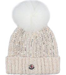 moncler pom-pon detail tricot knit beanie