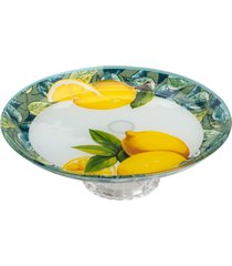 centro de mesa de vidro c/pé 20cm – lemons amarelo