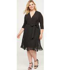lane bryant women's faux-wrap pleated fit & flare dress 14 black