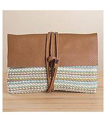 leather accent cotton blend clutch, 'beach sky' (peru)