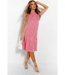 ditsy floral tiered midi smock dress, coral