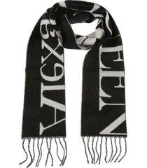 alexander mcqueen oversize rib branded scarf