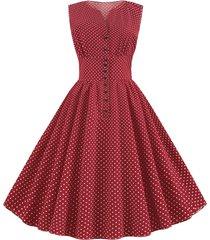 ditsy polka dot vintage a line button front dress