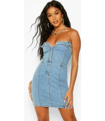 button up collar corset bodycon dress, blue