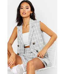 sleeveless flannel blazer & paperbag short co-ord set, grey