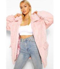 faux fur oversized bomber jacket, dusky pink