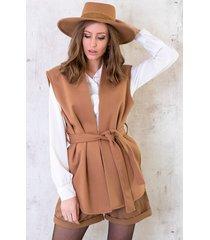 fleece strik vest camel