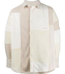 ambush patchwork fleece jacket - white