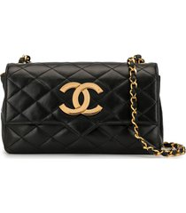 chanel pre-owned diamond quilted cc crossbody bag - black