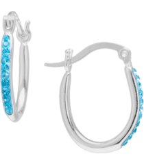 crystal oval hoop earrings in sterling silver. available in clear, gray or blue