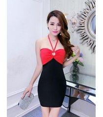 pf261 sexy sweet open shoulder & back mini a-dress, free size, white/black