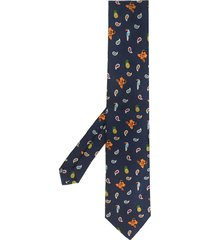 etro paisley and floral print tie - blue