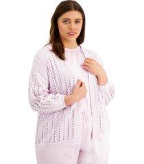 alfani plus size modern lounge eyelet-knit cardigan, created for macy's