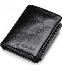 cartera piel genuina contact's billetera bifold calidad top