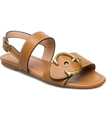 jen c buckle sandal- leather shoes summer shoes flat sandals brun coach