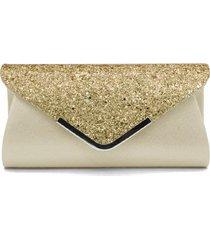 bolsa clutch liage envelope brilho glitter e metal alça removível prata dourada - kanui