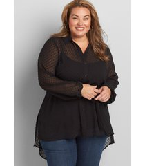 lane bryant women's button-front high-low belted tunic 24p black