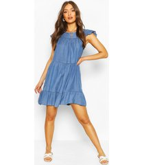 gesmokte chambray jurk met laagjes, middenblauw