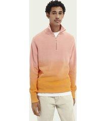 scotch & soda dip-dyed half-zip ribbed sweater