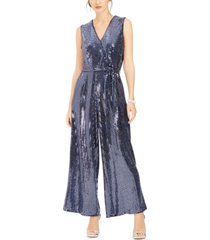 donna ricco v-neck belted sequined jumpsuit