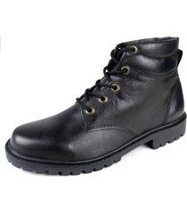 coturno cla cle bota  sola de borracha couro preto - kanui