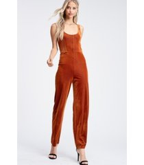 emory park sleeveless button placket fitted knit jumpsuit